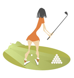 Young woman golfer on the golf course vector