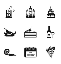Children party icons set simple style vector image vector image