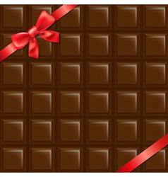 Chocolate Texture With Red Bow vector image