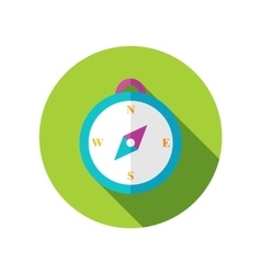 Compass flat icon with long shadow vector image vector image