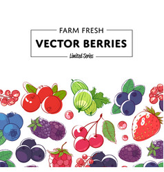 fresh and juicy berries retail poster vector image