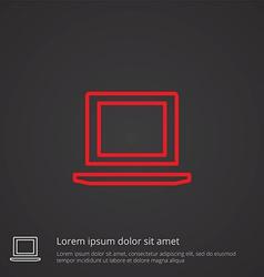 laptop outline symbol red on dark background logo vector image