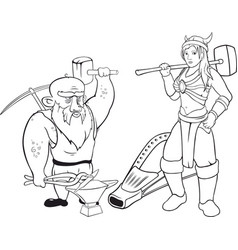 linear arts with couple of blacksmiths vector image vector image