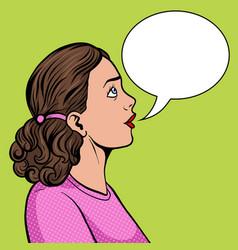 surprised woman pop art style vector image vector image