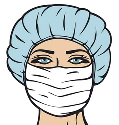 woman doctor in surgical mask vector image vector image