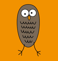 crazy funny owl with big eyes hand drawn vector image vector image