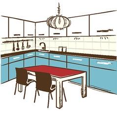 Modern kitchen room color sketchy on white vector image vector image