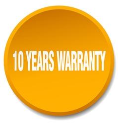 10 years warranty orange round flat isolated push vector image vector image