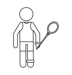 badminton player racket ouline vector image