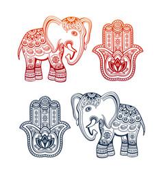 Ethnic elephant and hamsa hand ethnic ornaments vector