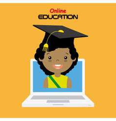 girl with computer vector image vector image