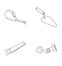 Measuring tape bolt with nut trowel wood vector