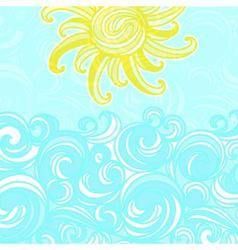 Summer background sun and waves vector