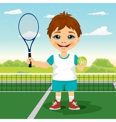 Young boy with racket and ball vector image