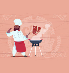 african american chef cook grill meat on bbq vector image vector image