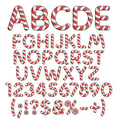 alphabet numbers and signs from red candies vector image