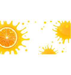 banner with orange and splash juice vector image vector image