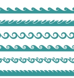 Blue ocean wave symbols isolated on white vector image