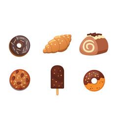 chocolate sweet dessert icons organic food vector image vector image
