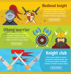 medieval knight banner horizontal set flat style vector image