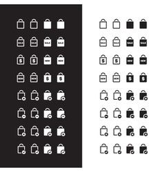Shopping bag icons on black and white background vector image vector image