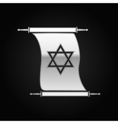 Silver Star of David on scroll icon to black vector image vector image