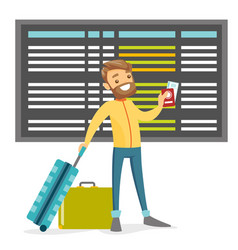 a white man with a passport and luggage in the vector image