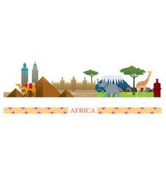 africa skyline landmarks in flat style vector image