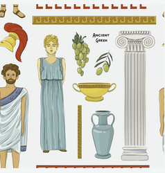 Ancient greek traditional costumes set vector