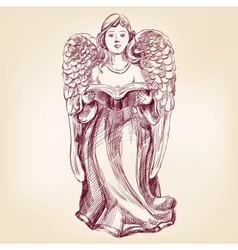 angel hand drawn illustration vector image