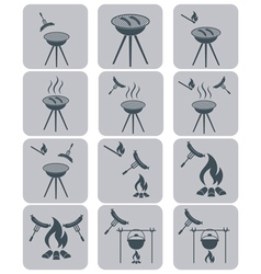 Barbecue sausage icons set vector