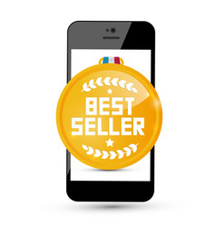Best seller gold medal icon on mobile phone vector