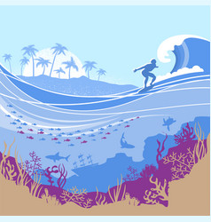big ocean wave and tropical island on blue vector image