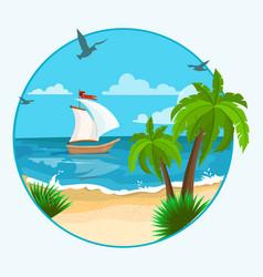 boat on beach vector image