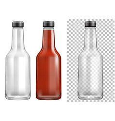 Bottle containers with black lids vector