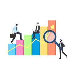 business statistics chart or graphic businessmen vector image