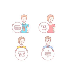 calendar atm service and buying accessory icons vector image