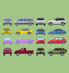 Car city different model objects icons set vector