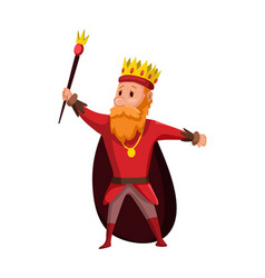 Cartoon king wearing crown and mantle cartoon vector