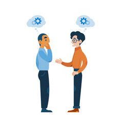 Cartoon men talking gear icon above head vector