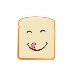 Cartoon toast bread icon bread toast smiling vector