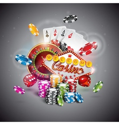 Casino with roulette wheel and chips vector