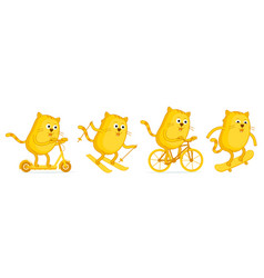 Cat sports entertainment set stickers scooter vector
