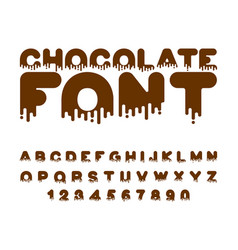 chocolate font sweetness alphabet liquid vector image