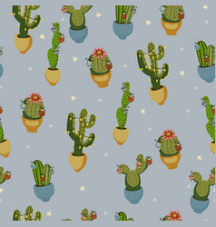 Christmas cactus seamless pattern on a blue vector