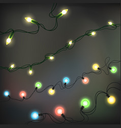 Christmas lights realistic elements glowing vector