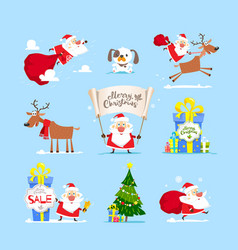 christmas santa claus set vector image