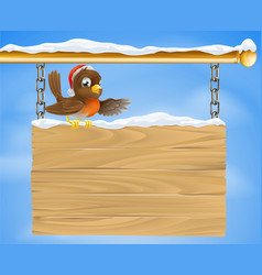 Christmas sign robin bird vector