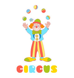 Circus clown juggler isolated on the white vector