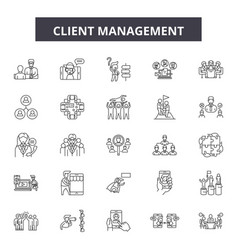 client management line icons signs set vector image